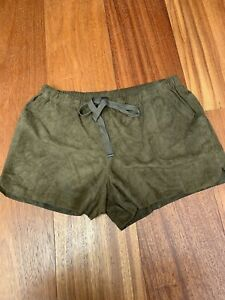 Edun Olive Suede Leather Shorts With Tie