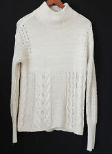 Vera Wang Sweater Mock Neck Ivory Cable Knit Easy Wear Size XS