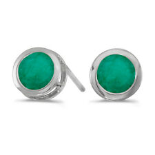 14k White Gold Round Emerald Bezel Stud Earrings