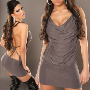Womens Sexy Cowl Neck Backless Evening Bodycon Party Mini Dress size 8 10