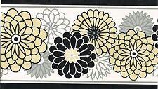 BLACK WHITE TAN GRAY FLOWERS BLACK EDGES  Wallpaper bordeR Wall