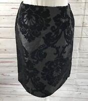 Melly M Women's Pencil Skirt Black Velvet Floral Size 10