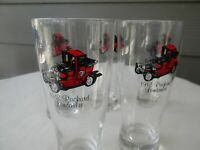 SET OF5 VINTAGE ANTIQUE CAR PILSNER GLASSES  1912 Packard Landaulet