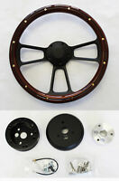 Jeep Wrangler YJ CJ Cherokee Wagoneer Mahogany Wood on Black Steering Wheel 14""
