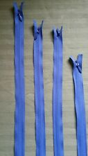 "UNIQUE YKK BLUE SATIN INVISIBLE ZIPPER 2mm size coil 9,14,18,22"" PLEASE SPECIFY"