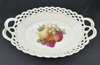 Vtg Schumann Bavaria White w/ Fruit Lattice Reticulated Porcelain Dish Oval Bowl