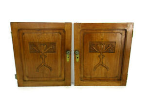 Pair Antique Hand Carved Wood Door Panels Reclaimed Architectural Trees