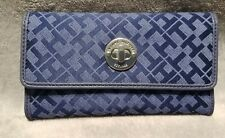 Tommy Hilfiger Womens Signature Wallet 12 card slots check money holder.
