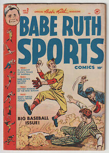 M1255: Babe Ruth Sports Comics #2, Vol 1, F VF Condition