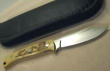 1987~D.J. HARPER~AZ.~EXOTIC SCRIMSHAW BONE~UNUSED~HIGH END CUSTOM KNIFE & POUCH~