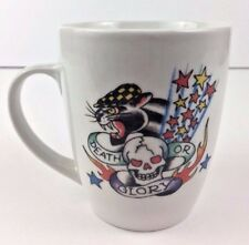 Ed Hardy Flying Aces Death or Glory Skull Top Hat Smoking Panther Coffee Tea Mug