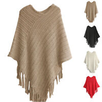 Women Winter Warm Knitted Hooded Cloak Poncho Pullover Tassel Coat Outwear New