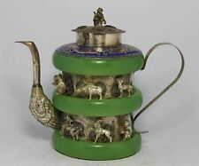 Exquisite Chinese old jade Tibetan silver engraving 12Zodiac teapot Monkey Cover