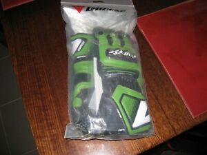 Dainese Carbon Cover ST Leather Gloves - White/Green/Black size XS