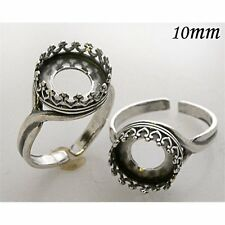 Quality Cast 10mm Stamped Sterling Silver 925 Bezel Cup Setting  Rings (8479)