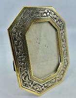 VTG 80's Elegant Solid Brass Handcast Floral Border Photo Frame ITALY Easel Back