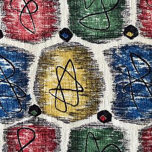 1950s/1960s VINTAGE COTTON BARKCLOTH FABRIC - FAB ATOMIC ABSTRACT DESIGN. MCM