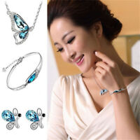 Women Crystal Jewelry Set Butterfly Necklace + Earring +Bracelet Wedding Gift