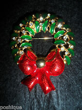 Christmas Wreath Large X-MAS Genuine Elements Statement Pin Brooch Holiday Shiny