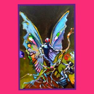 """Aceo Original painting SCI-FI fantasy Naive """"MOTHMAN-a study"""" by T Pendino"""