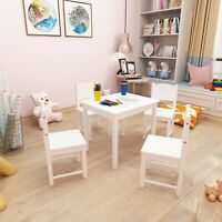 Wooden Kids Table and Chairs Set Solid Hard Wood Sturdy Child Table & Chairs