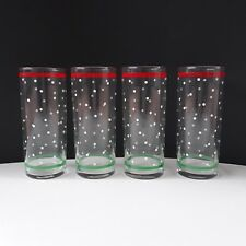 4 Vintage Libbey Christmas Drinking Glasses Tumblers Red Green White Dots Snow