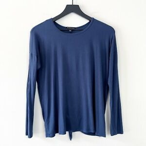 BEYOND YOGA Women's Top Size S Draw The Line Tie Back Pullover Long Sleeve Blue