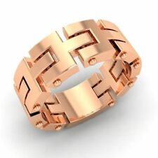 Certified 7 mm Men's Chain Link Engagement Ring Wedding Band Solid 10k Rose Gold