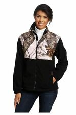 Yukon Gear Women's Casual Fleece Jacket (Black/Mossy Oak Pink Camo, Small)