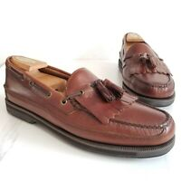 G.H. Bass Henry Mens Tassel Loafers Brown Leather Boat Shoes Slip On Size 12 M