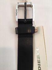 Cinturón Para Hombre Cuero Negro Plateado Diesel 90 cm BNWT RRP £ 55