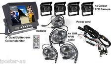 "9"" Quad Monitor 4PIN CCD Reversing Camera Rearview 12V 24V 4 Camera 4Pin Package"