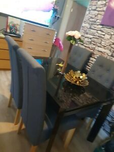 Dining Table' for extendable.  Aluminium, And Matching Glass And Dark Grey Chair