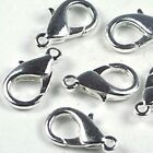 25 Silver Pewter Lobster Claw Clasps 12x6mm ~ Lead-Free