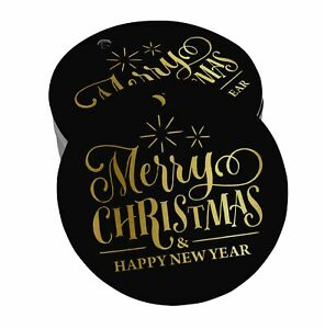 Real Foil Paper Hang Tags Merry Christmas & Happy New Year Favor Tags-SH2_24BG