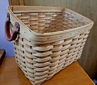 Longaberger Newspaper /Magazine Basket With Plastic Protector