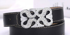 """In 925 Pure Silver Women Belt Buckles Gorgeous Four """"S"""" Joint ith Round Clear Cz"""