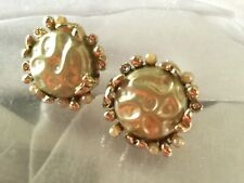 Vintage Light Green Button Goldtone Earrings -63