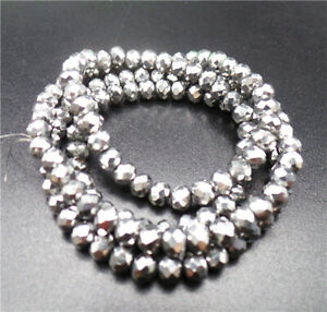 """1 Strand 4x3mm Titanize Silver Crystal Glass Faceted Wheel Beads 15.5"""" BB4682*"""