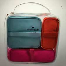 Kate Spade New York clear Cosmetic Bag Set travel Toiletry Makeup Pouch 4pc NEW