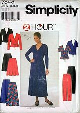 Simplicity Pattern 7843 2 Hour Stretch Knit Pullover Top Flare Skirt Pants 10-14