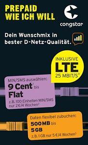 Congstar Prepaid wie ich will Handy SIM Karte 10€ Guthaben D1 Netz Telekom xtra