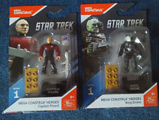 Mega Construx Heroes Minifig Series 1 Star Trek TNG Captain Picard & Borg Drone