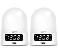 "2pk SHARP Sunrise Simulator Alarm Clock w Bluetooth & USB|White |5.73""x4.33""|NWT"