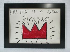 WONDERFUL OILSTICK ON PAPER BY JEAN-MICHEL BASQUIAT 1982 WITH FRAME NICE