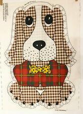 Vintage Basset Hound Dog Fabric Panel Gingham Pillow Cut and Sew 1975