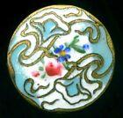 Antique Enamel Button Sky Blue w Pink Rose   Forget Me Not Art Nouveau 13 16