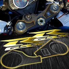 Handle Bar Black Yoke Cover+Chrome Gold Emblem Sticker 09-17 GSX-R1000 GSXR 1000