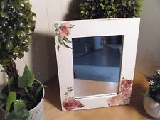 SHABBY  COTTAGE DECOUPAGE BURGUNDY/ CORAL ROSES  FRAMED MIRROR