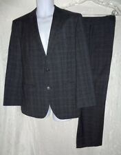 HUGO BOSS Charcoal Gray Plaid The Jam 1 / Sharp 1 Wool Suit 40S Pants 32 x 28.5